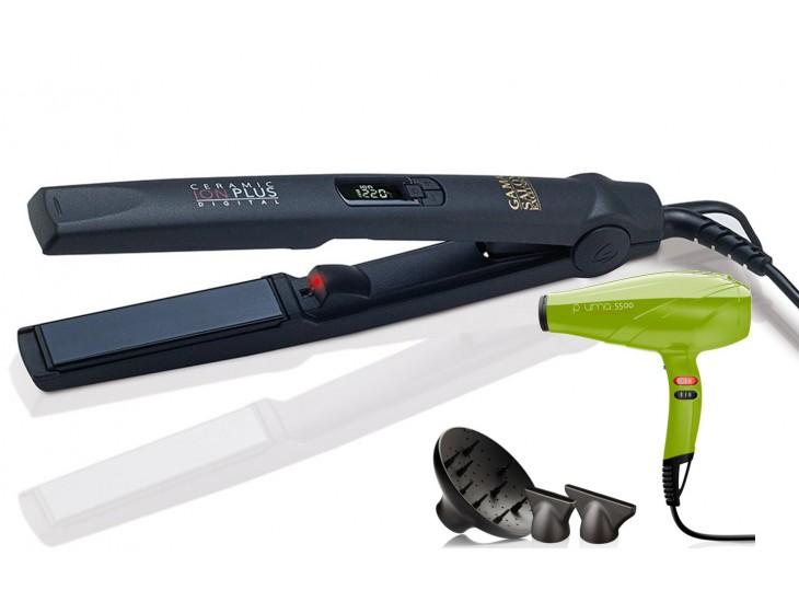 Набор Щипцы CP1DGTION + Фен PL5500.VR зеленый